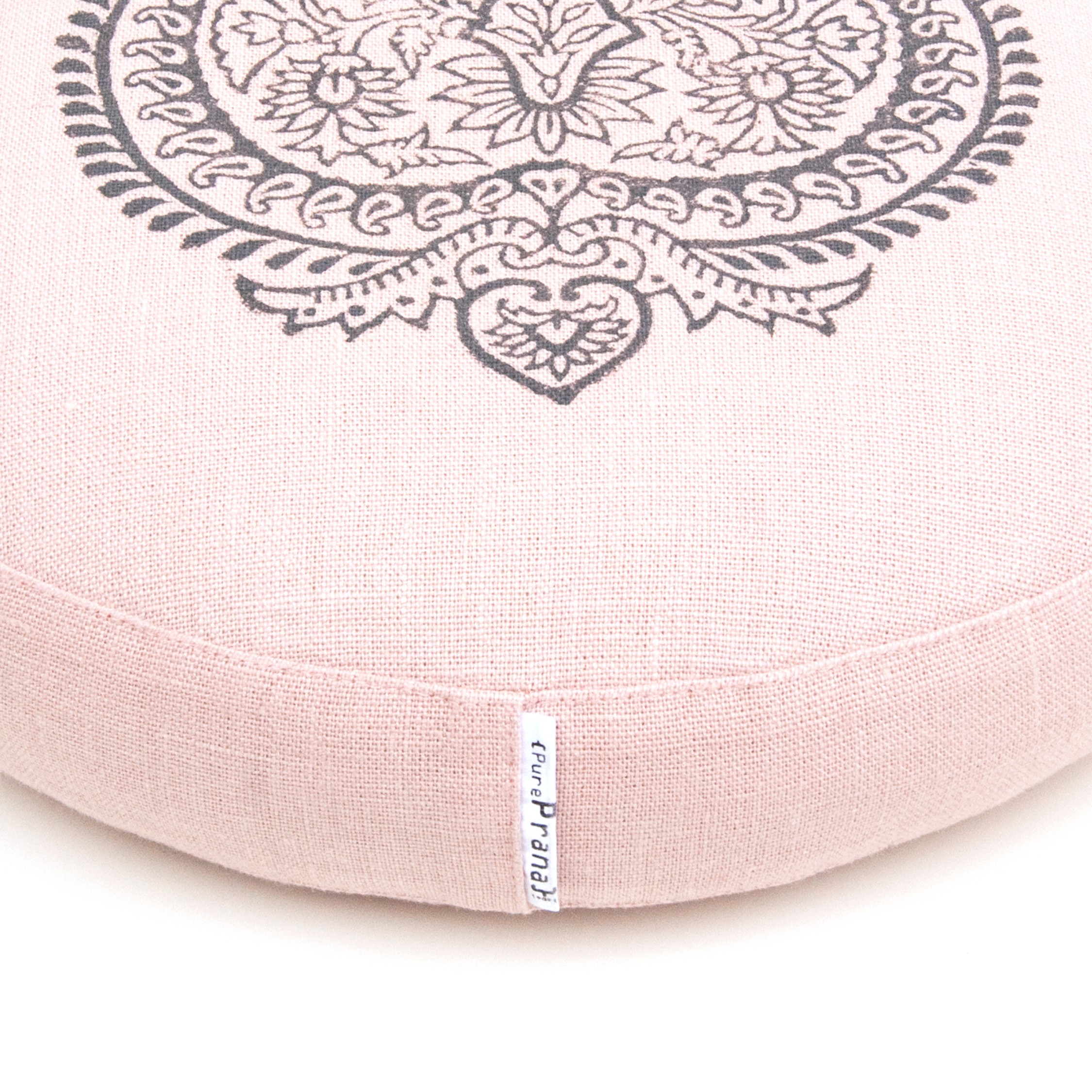 An extra low meditation cushion by Pure Prana Label