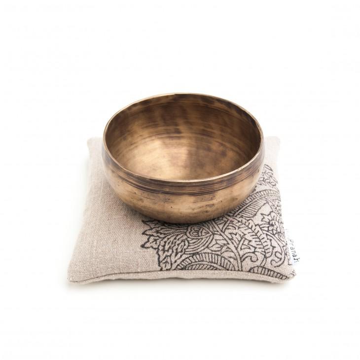 Natural linen singing bowl cushion by Pure Prana Label