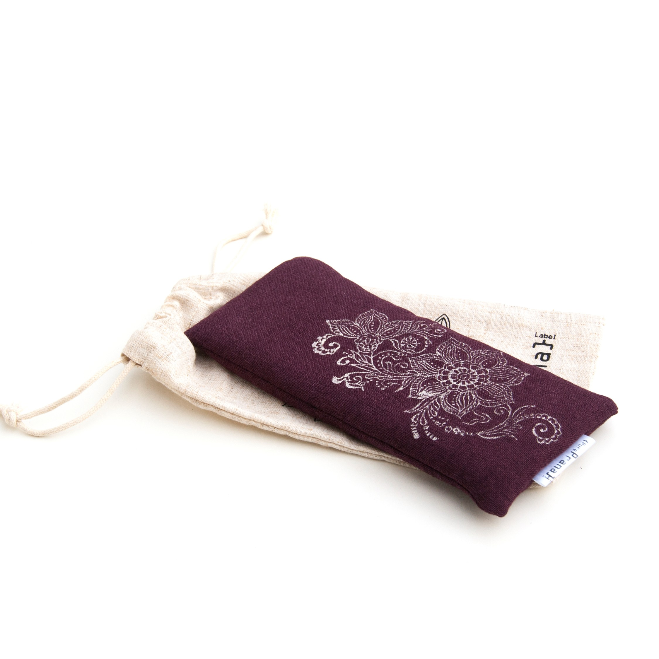 Lavender eye pillow in Mehndi design, eggplant colored.
