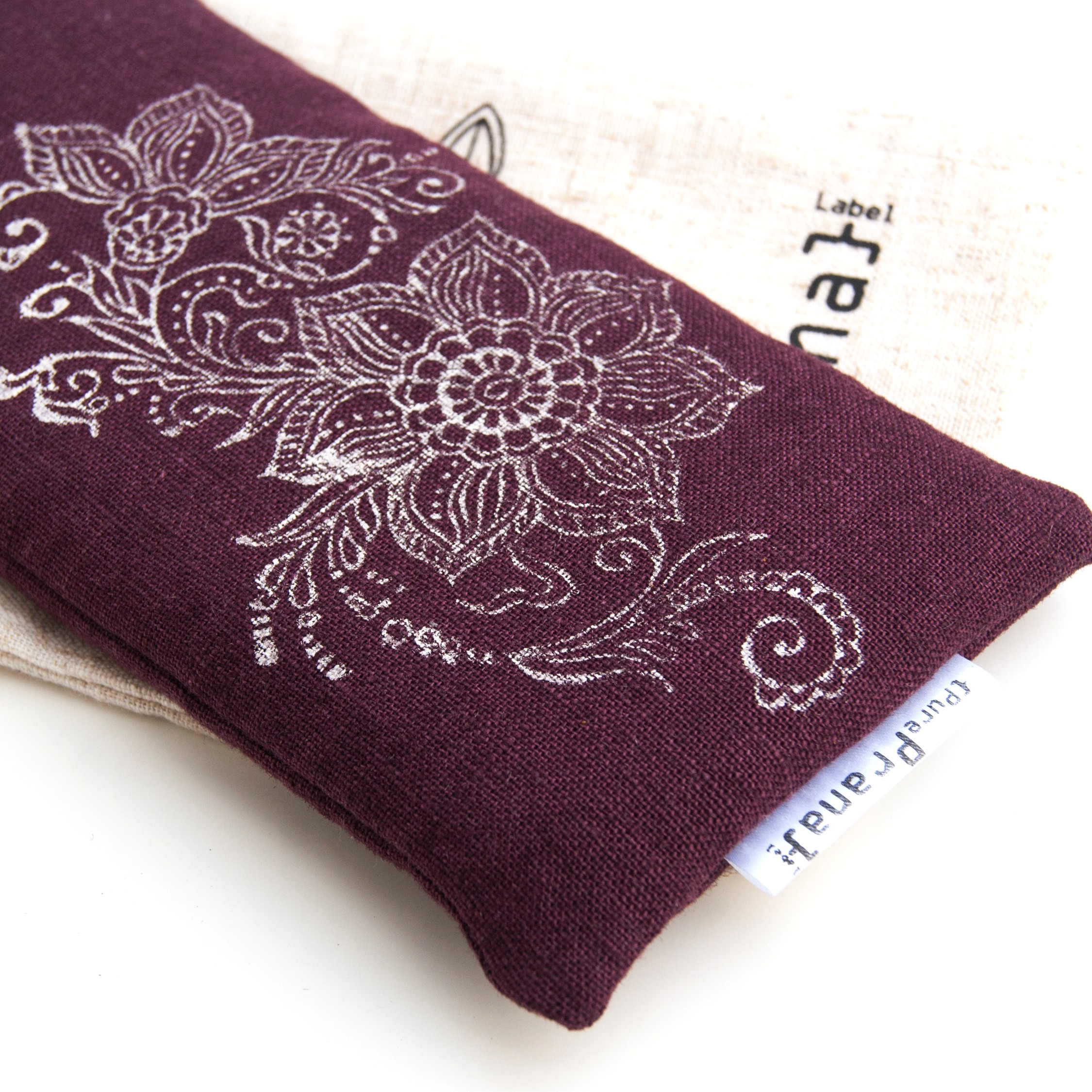 Handprinted Mehndi design on your non toxic lavender eye pillow