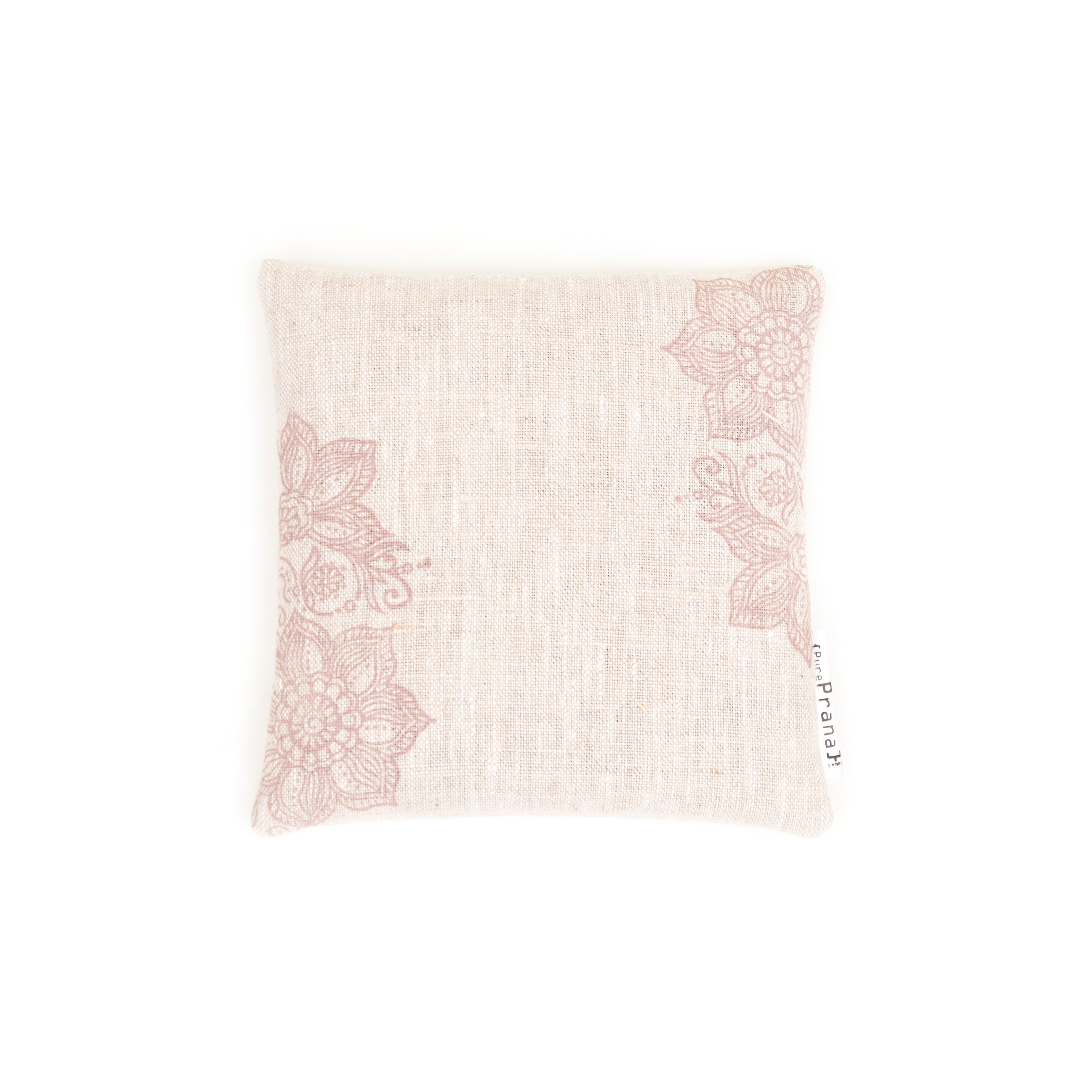 Handprinted and handmade singing bowl cushion by Pure Prana Label