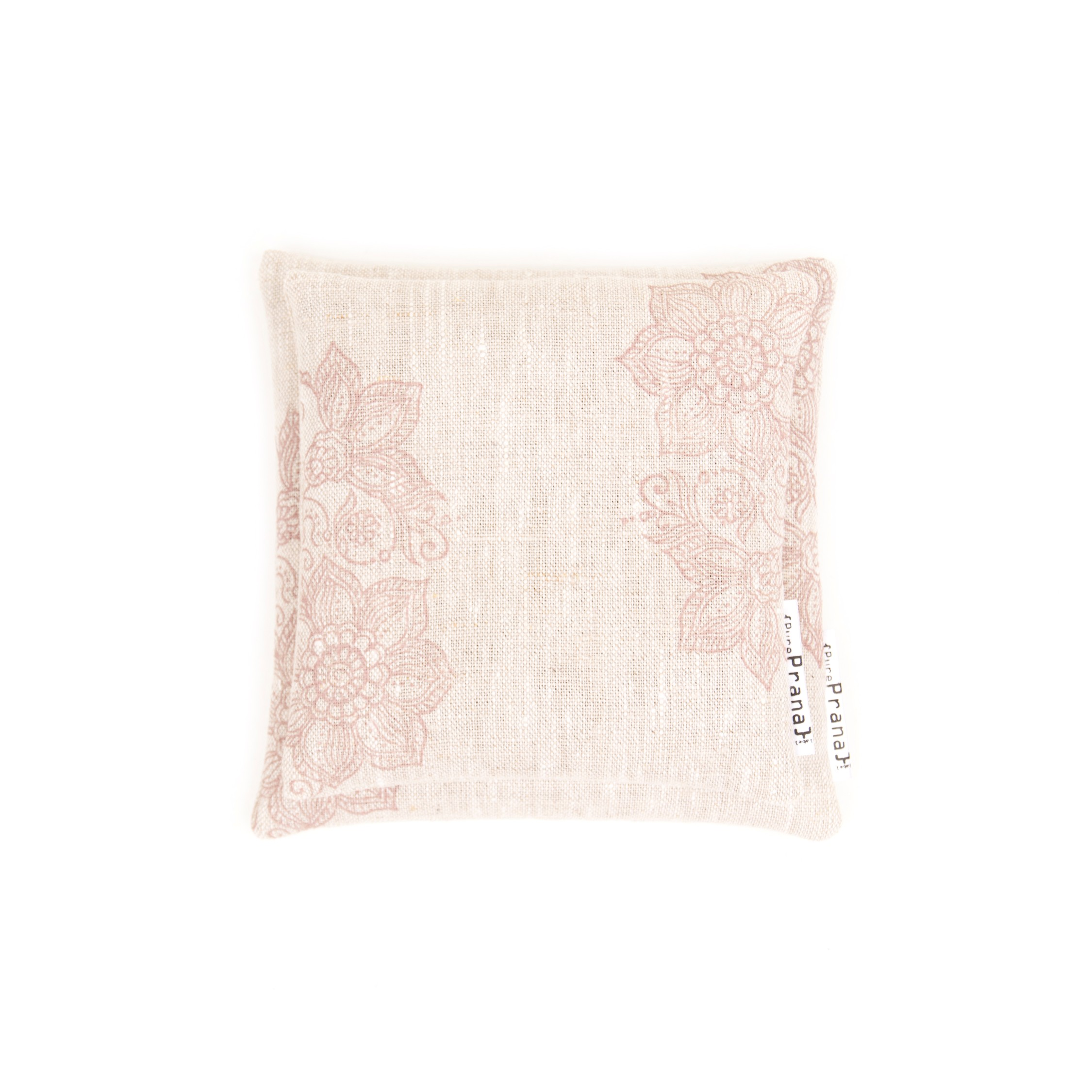 Handprinted singing bowl cushions by Pure Prana Label, natural fabric