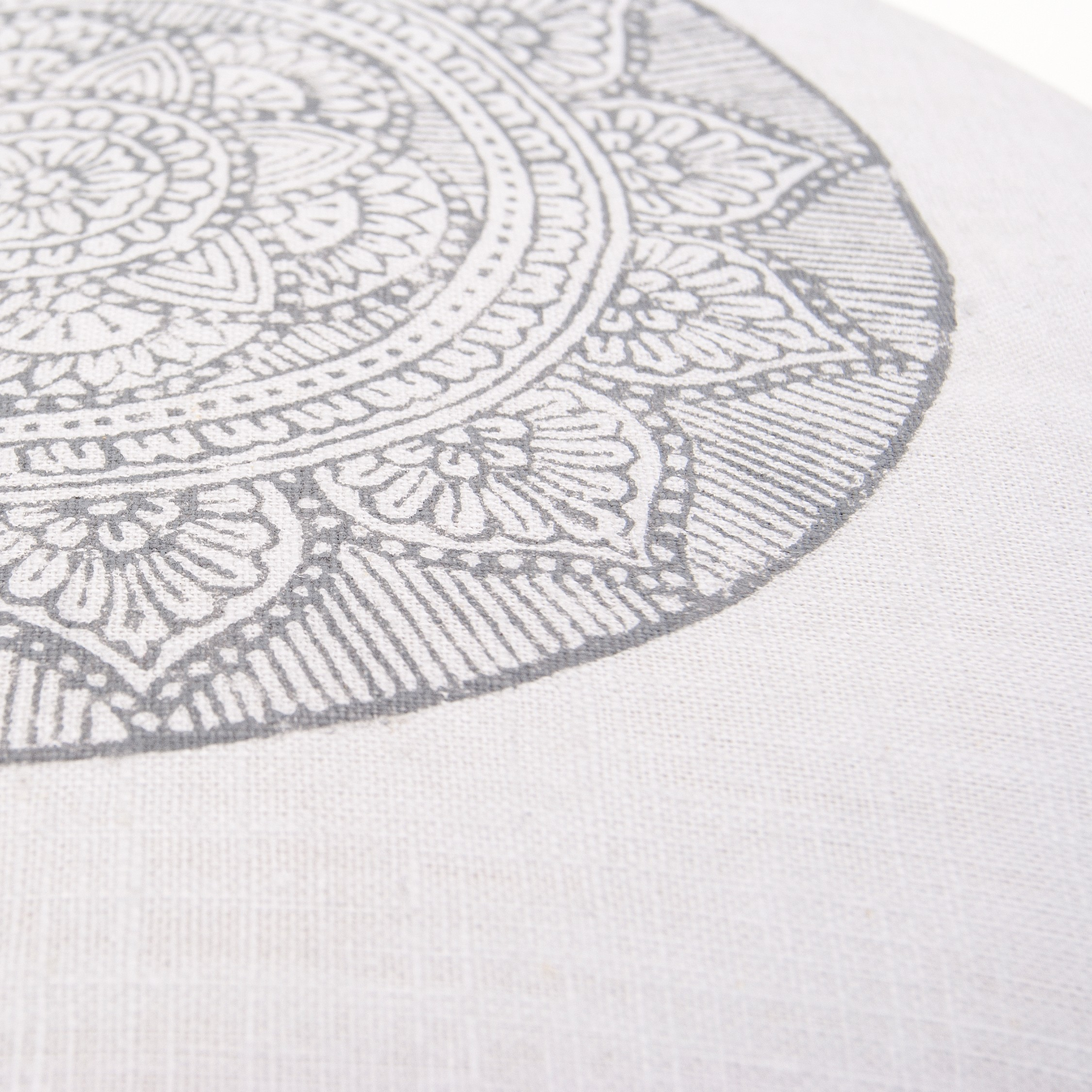 Handprinted meditation pillow, ethical meditation brand.