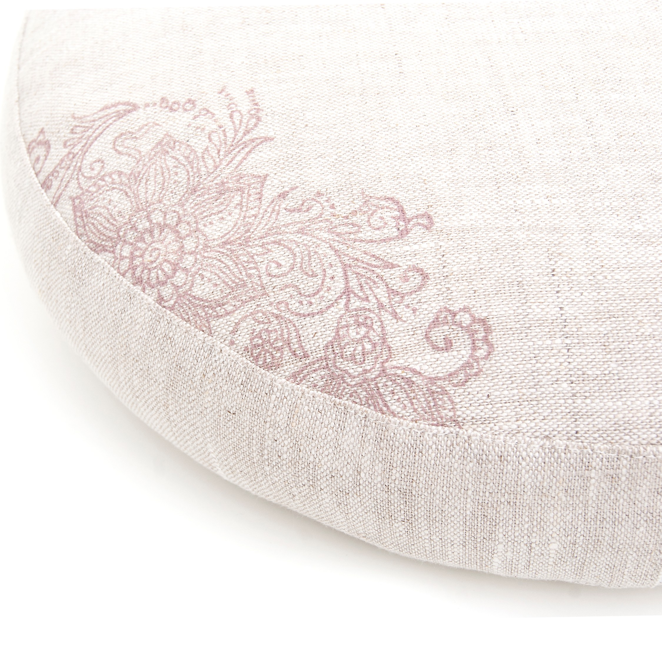 Close up of the Mehndi print on a low meditation cushion by Pure Prana Label