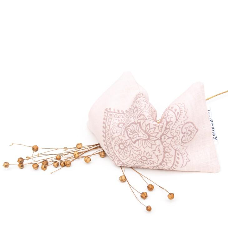 Pink lavender eye pillow for yoga, yoga nidra and savasana or guided meditation