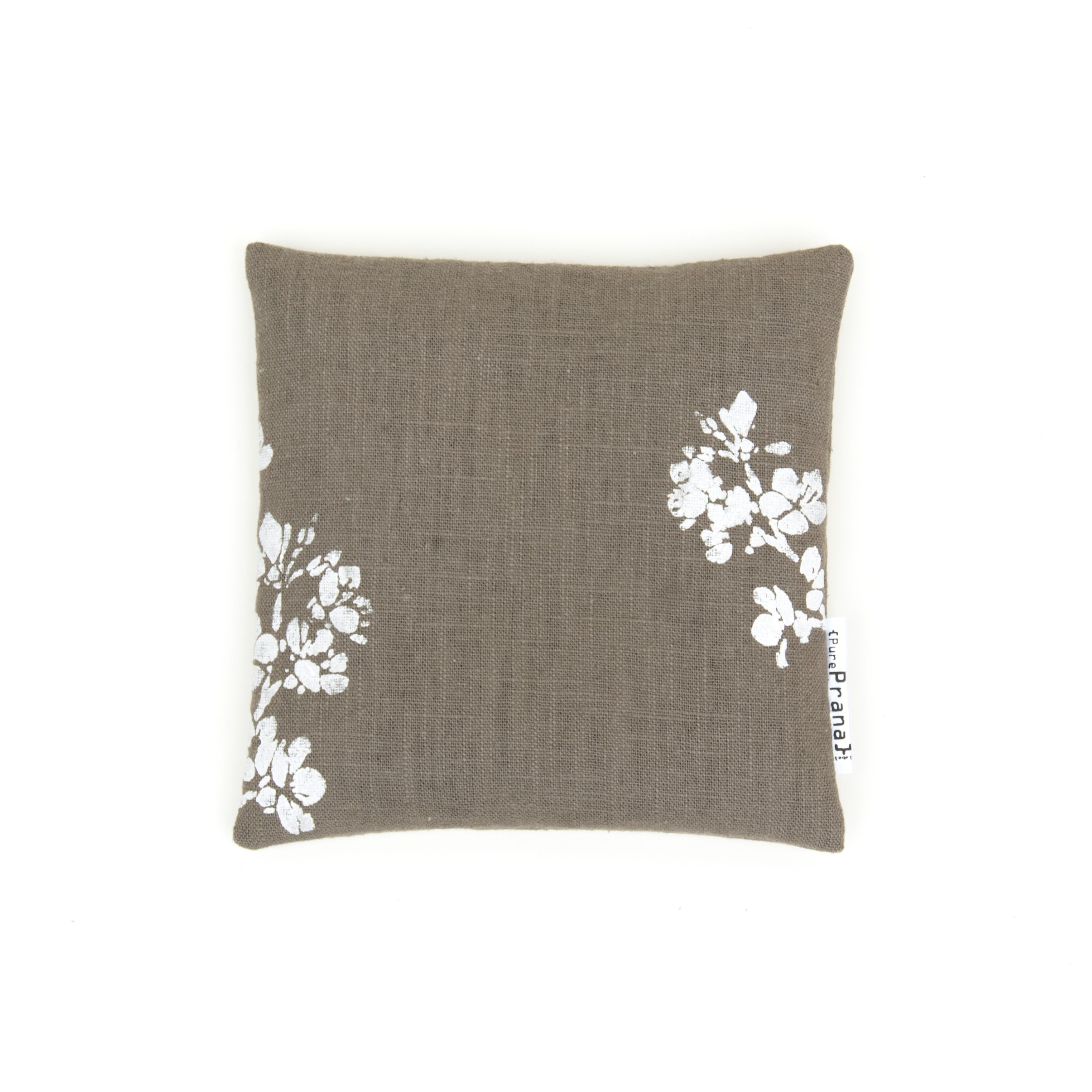 Top view of your singing bowl cushion 'Cherry blossom'in olive green