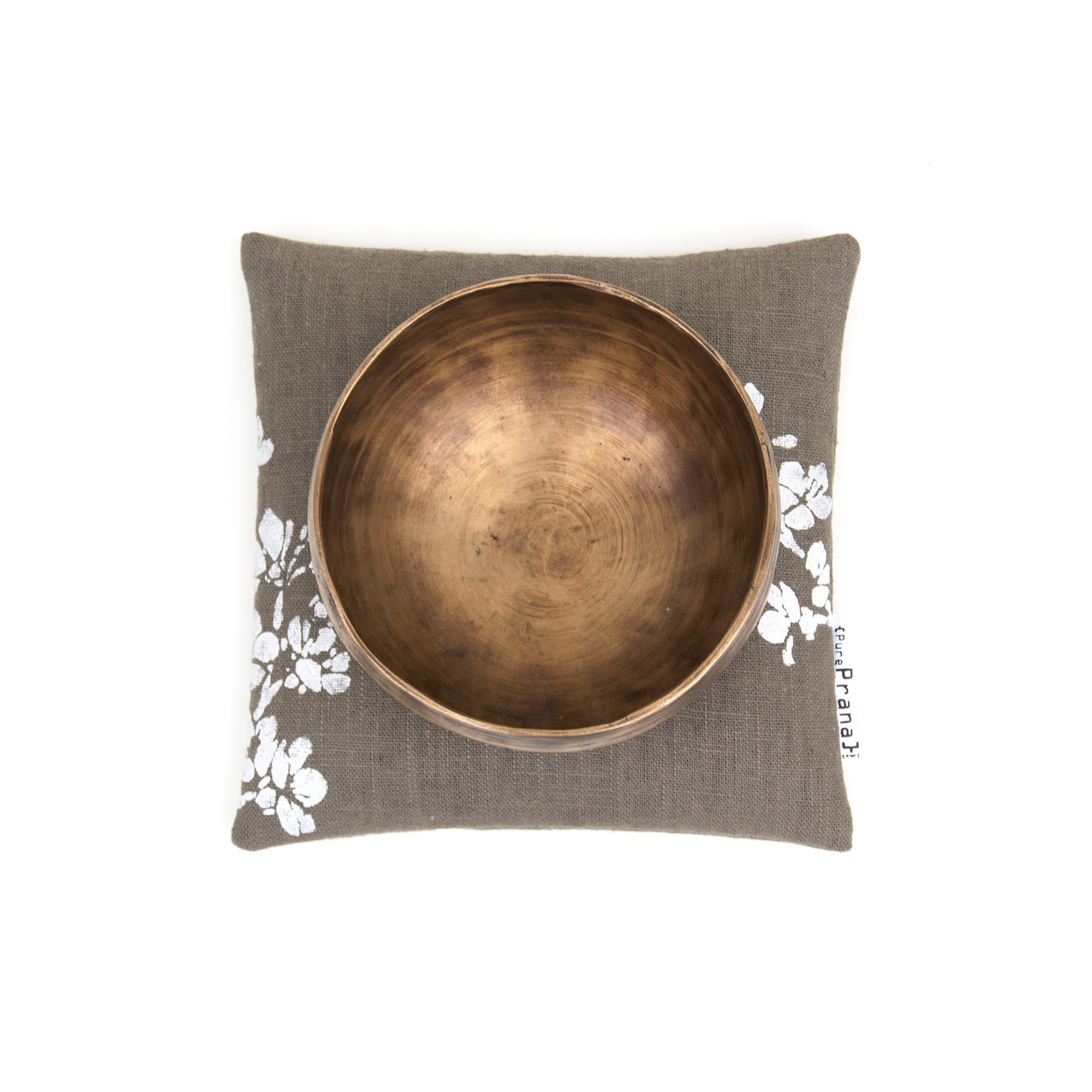A flax linen singing bowl cushion, in olive green.