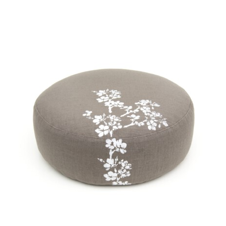 Very elegant olive green meditation cushion in olive green, with cherry blossom floral print