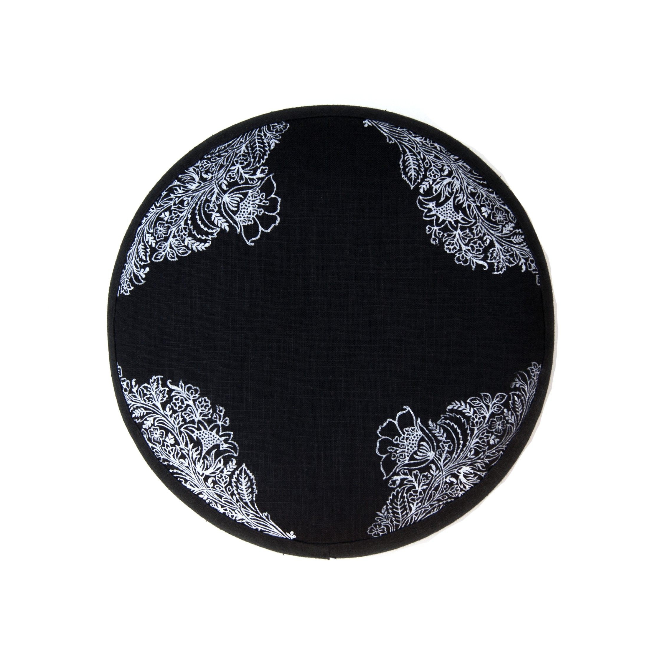 Meditation cushion in black with floral print