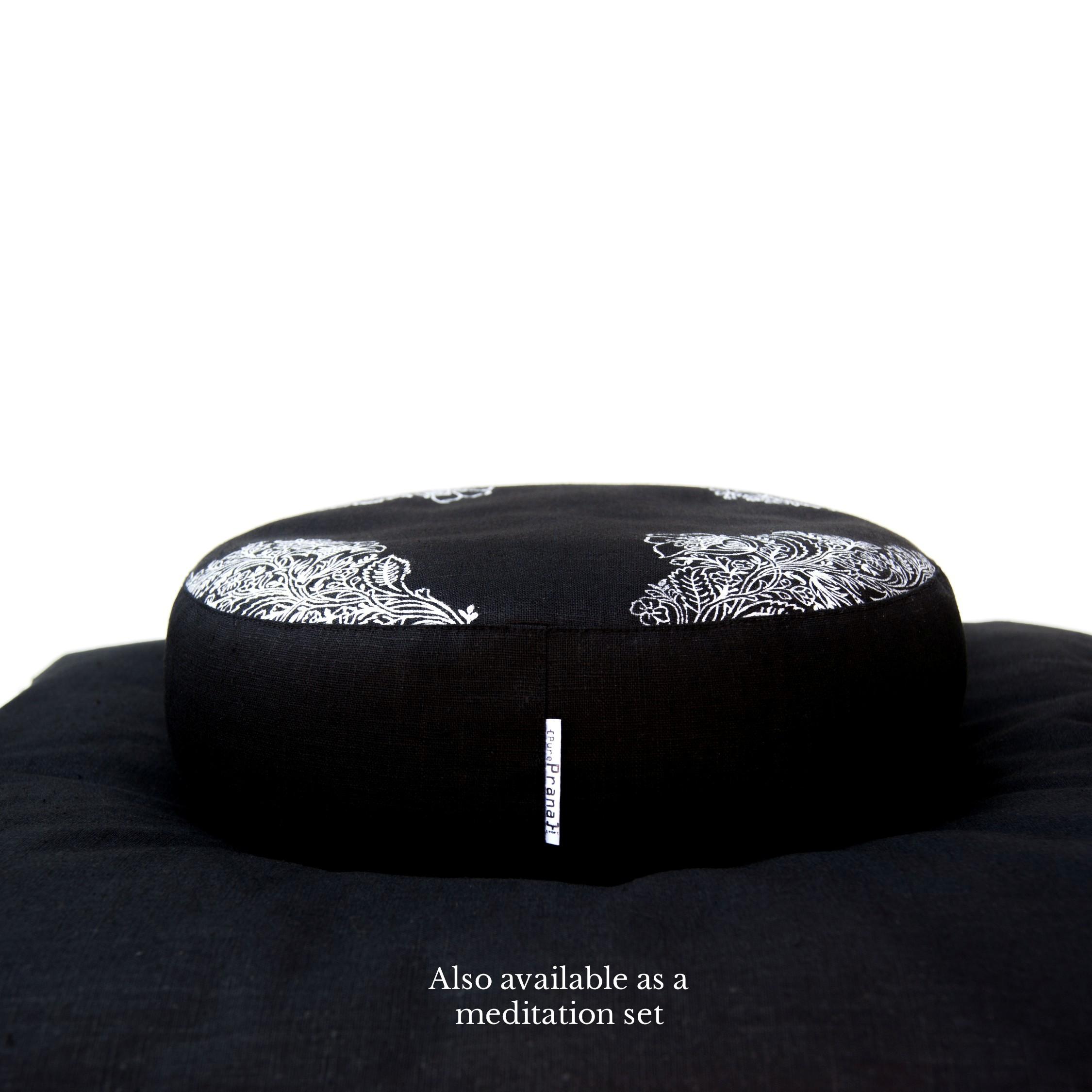 Black linen yoga zafu
