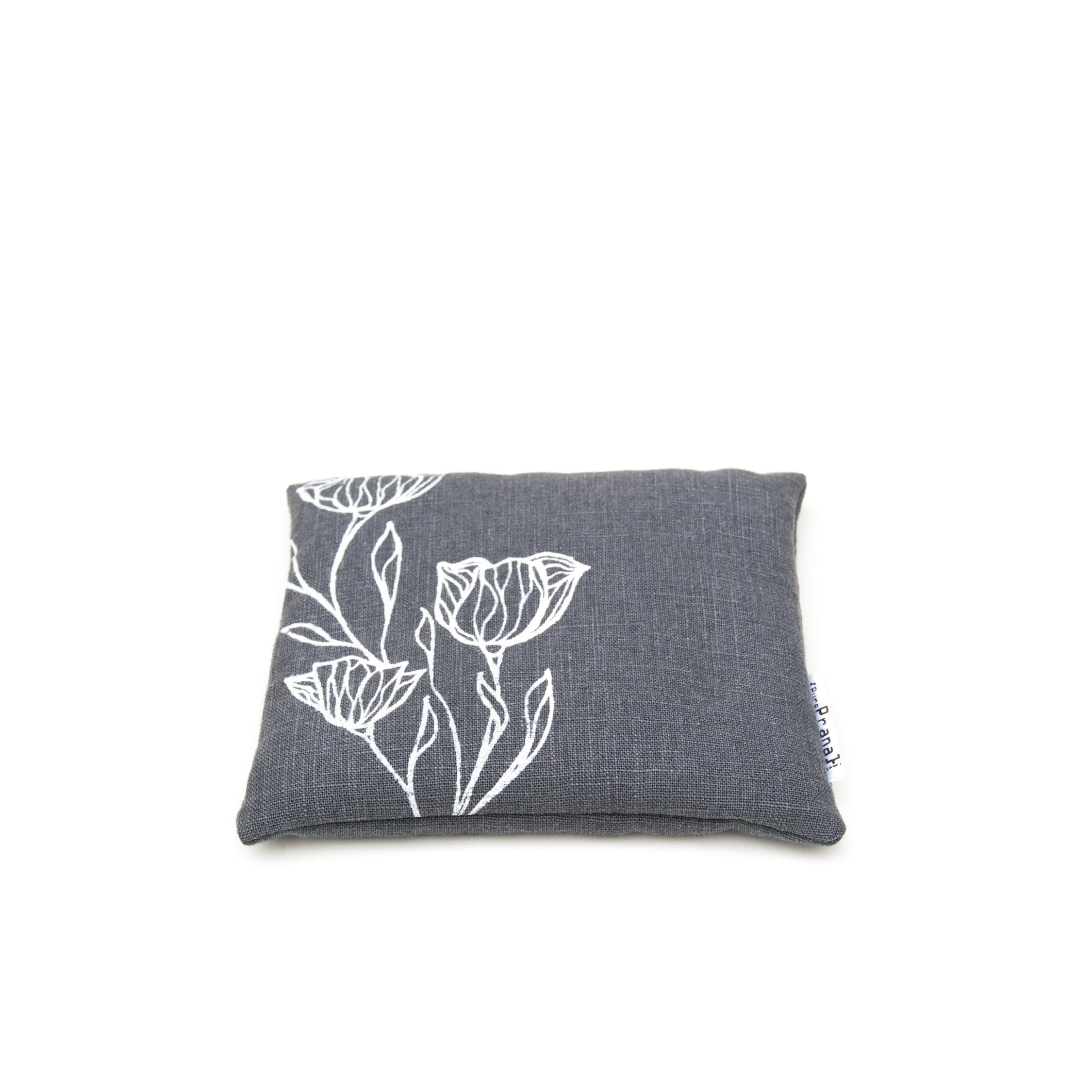 Singing bowl cushion in dark grey flax linen